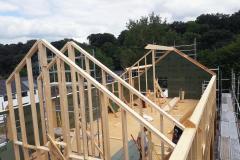 houtskeletbouw in uitvoering